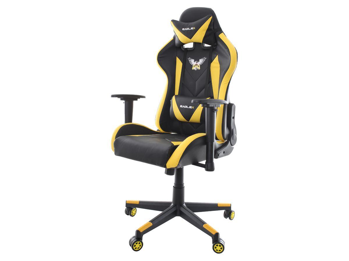 Cadeira Gamer Eaglex Pro Reclinável Giratória com Ajuste de Altura Braços Ajustáveis Profissional Setup Game Cor Amarelo