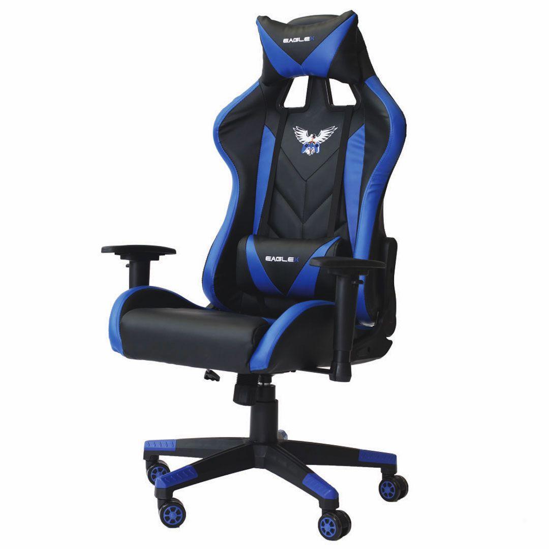 Cadeira Gamer Pro Reclinável Giratória Com Ajuste de Altura e Braço 3D Profissional Setup Game Cor Azul