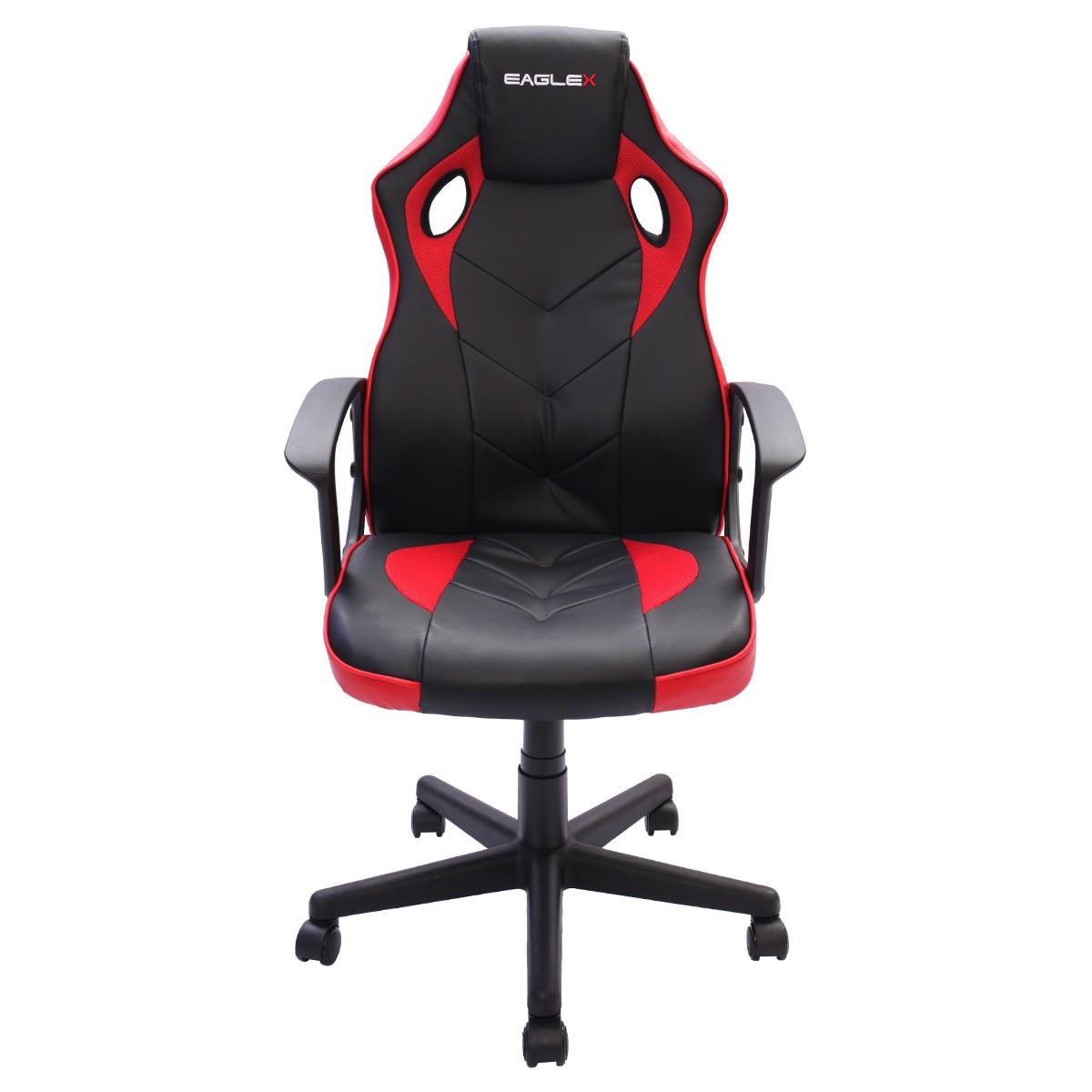 Cadeira Gamer S1 Barata Giratória com Ajuste de Altura Office Setup Game Eaglex Cor Vermelha