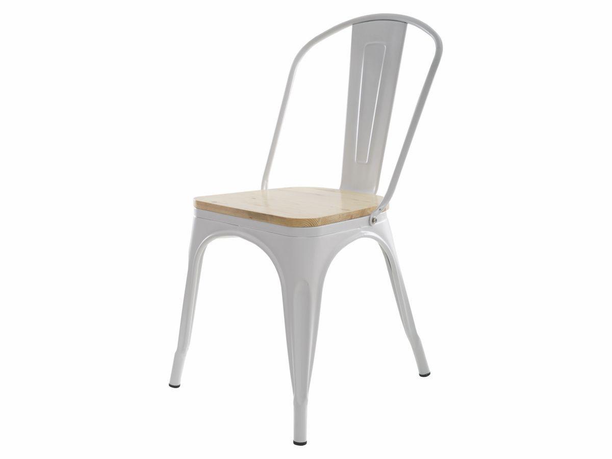 Cadeira Para Mesa Sala De Jantar Tolix Industrial Branca Com Assento De Madeira