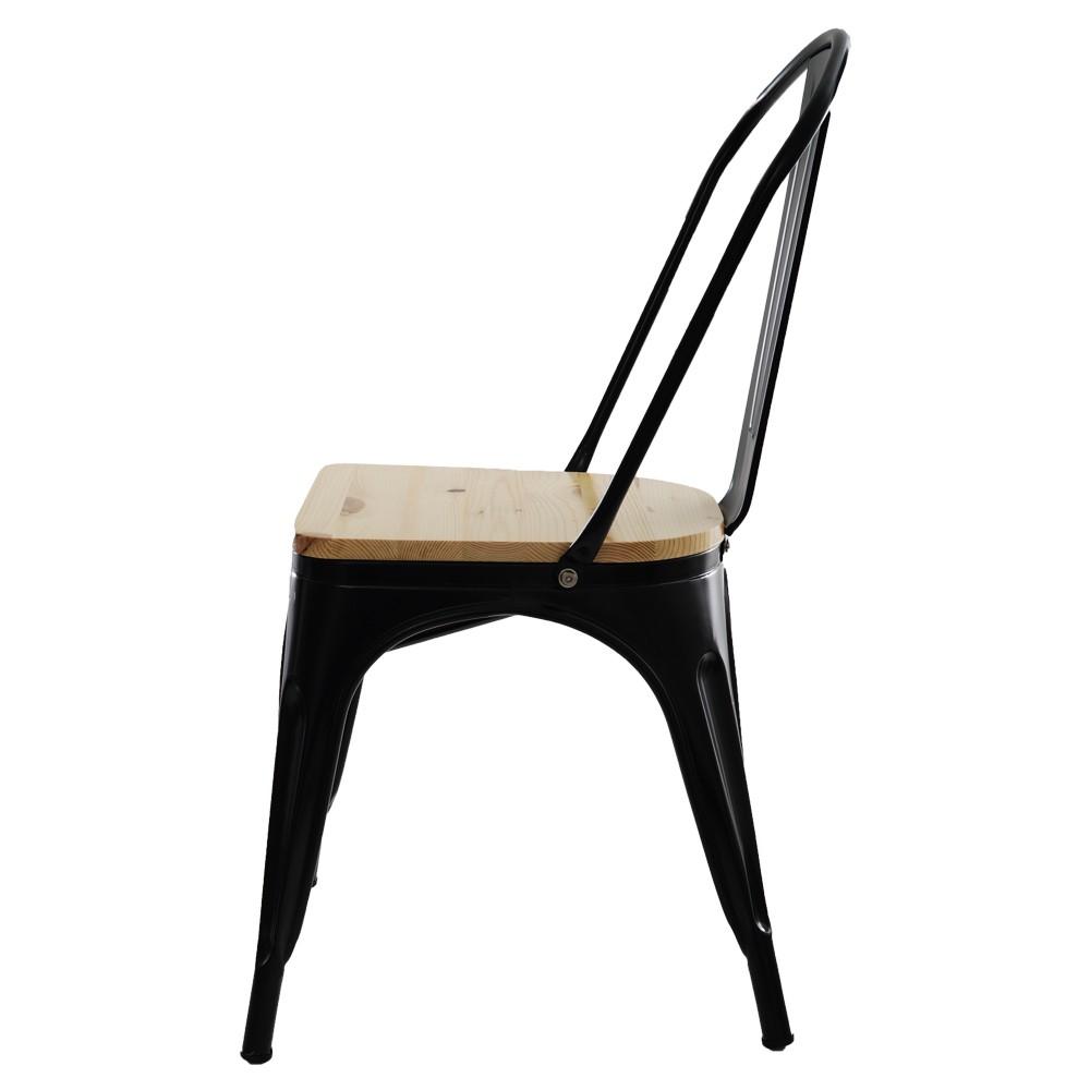 Cadeira Para Mesa Sala De Jantar Tolix Industrial Preta Com Assento De Madeira
