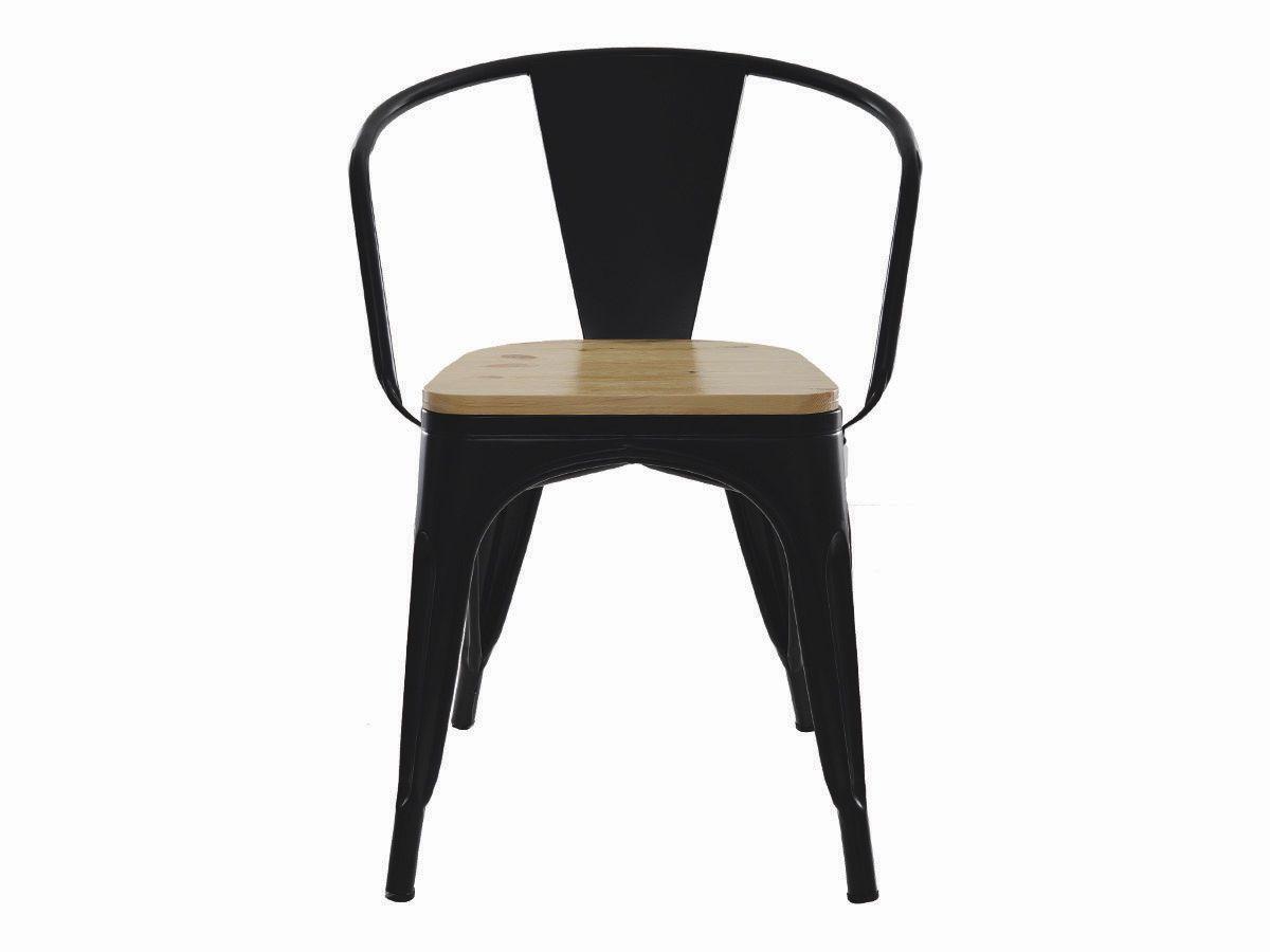 Cadeira Para Mesa Sala De Jantar Tolix Iron Industrial Preta Com Braço E Assento De Madeira