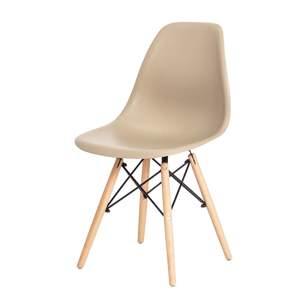Conjunto Mesa Retangular Eames Eiffel Preta 80x80cm E 4 Cadeiras Charles Eames Eiffel Nude
