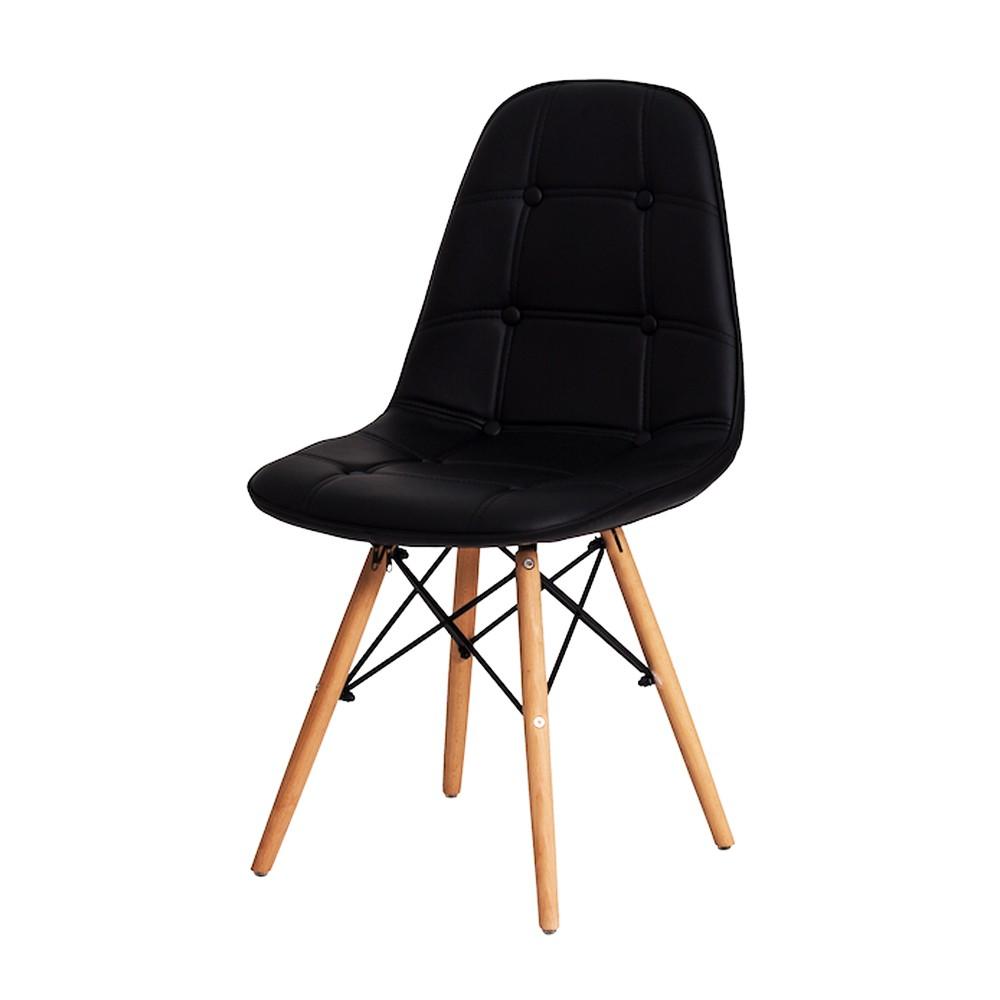 Conjunto de Mesa Redonda Eiffel Branca DSW 120cm E 4 Cadeiras Charles Eiffel Gomos Preta