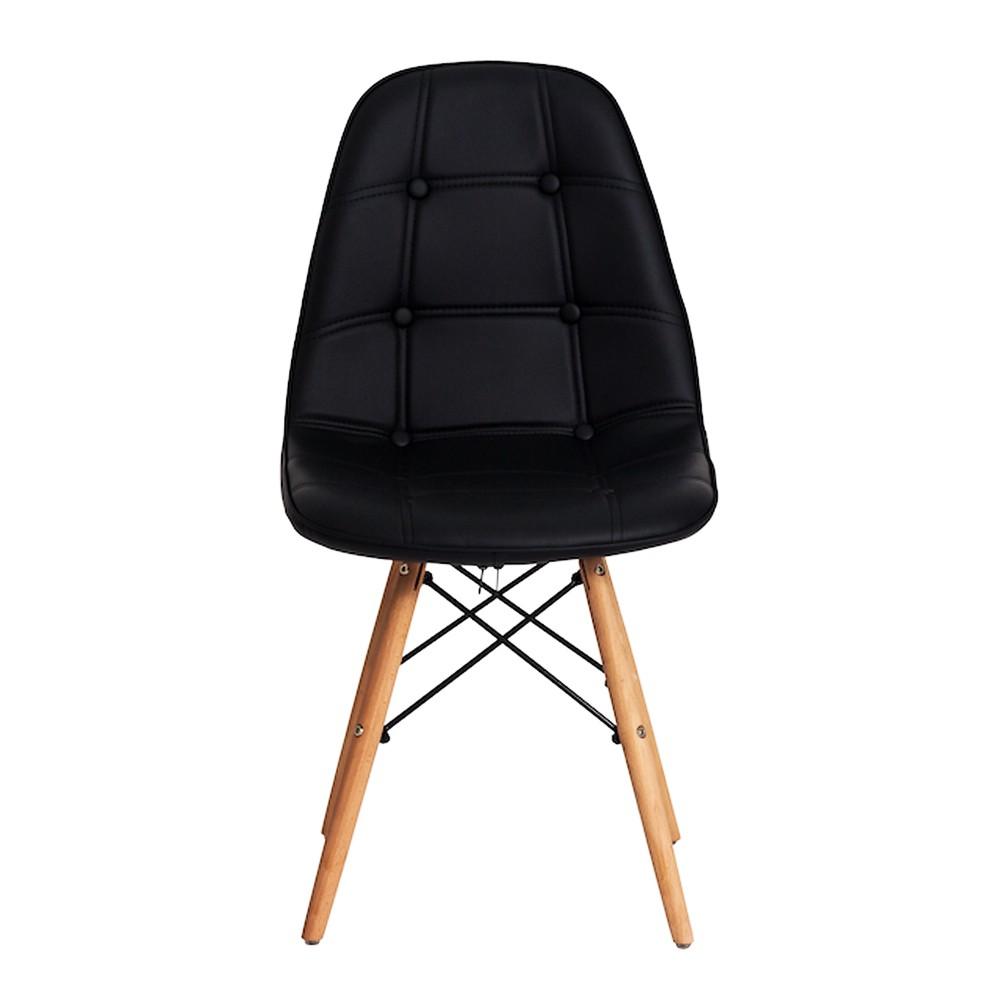Conjunto de Mesa Redonda Charles Eames Eiffel Preta 80cm E 4 Cadeiras Eiffel Gomos Preta