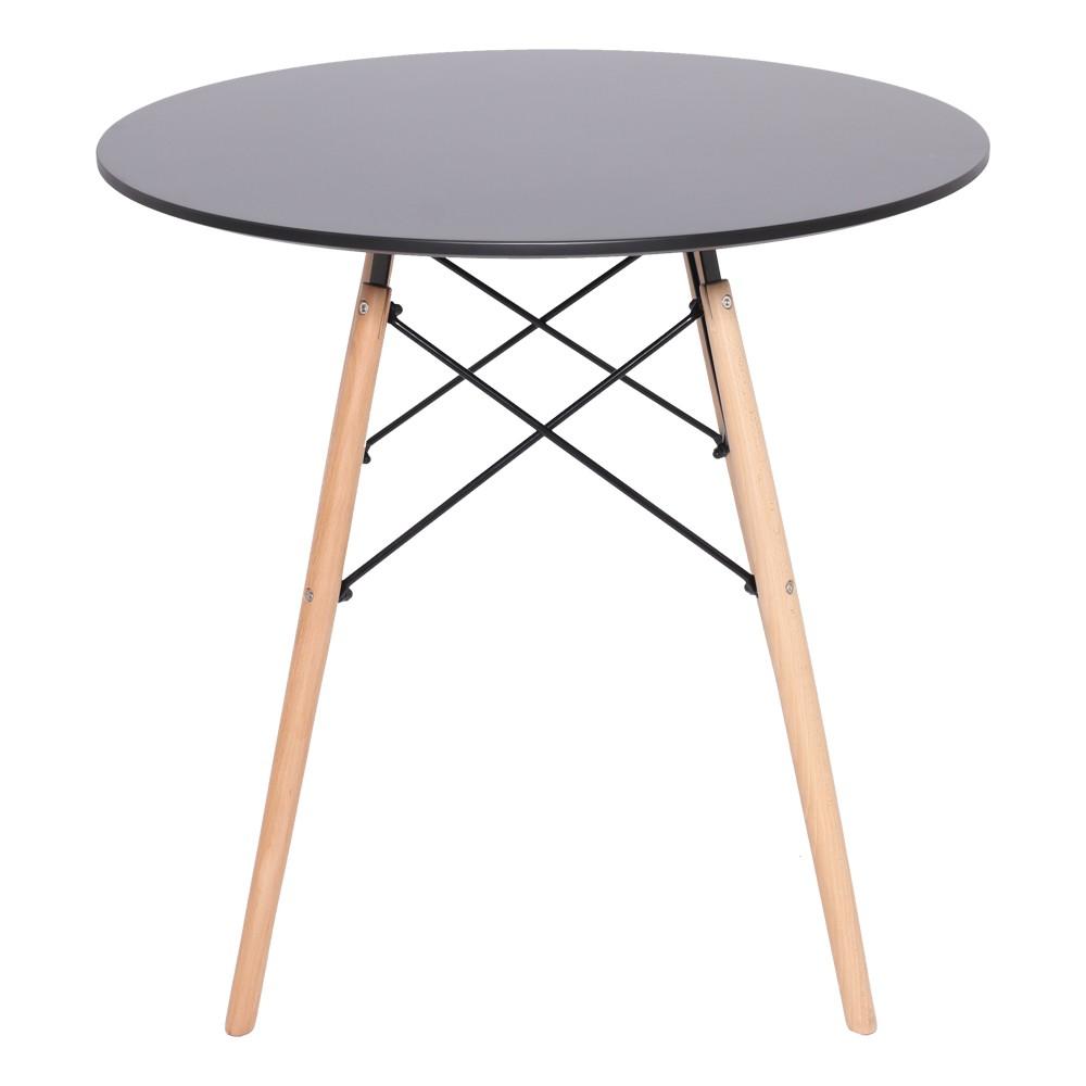 Conjunto Mesa Redonda Eames Eiffel Preta 120cm e 6 Cadeira Charles Eames Eiffel Preta