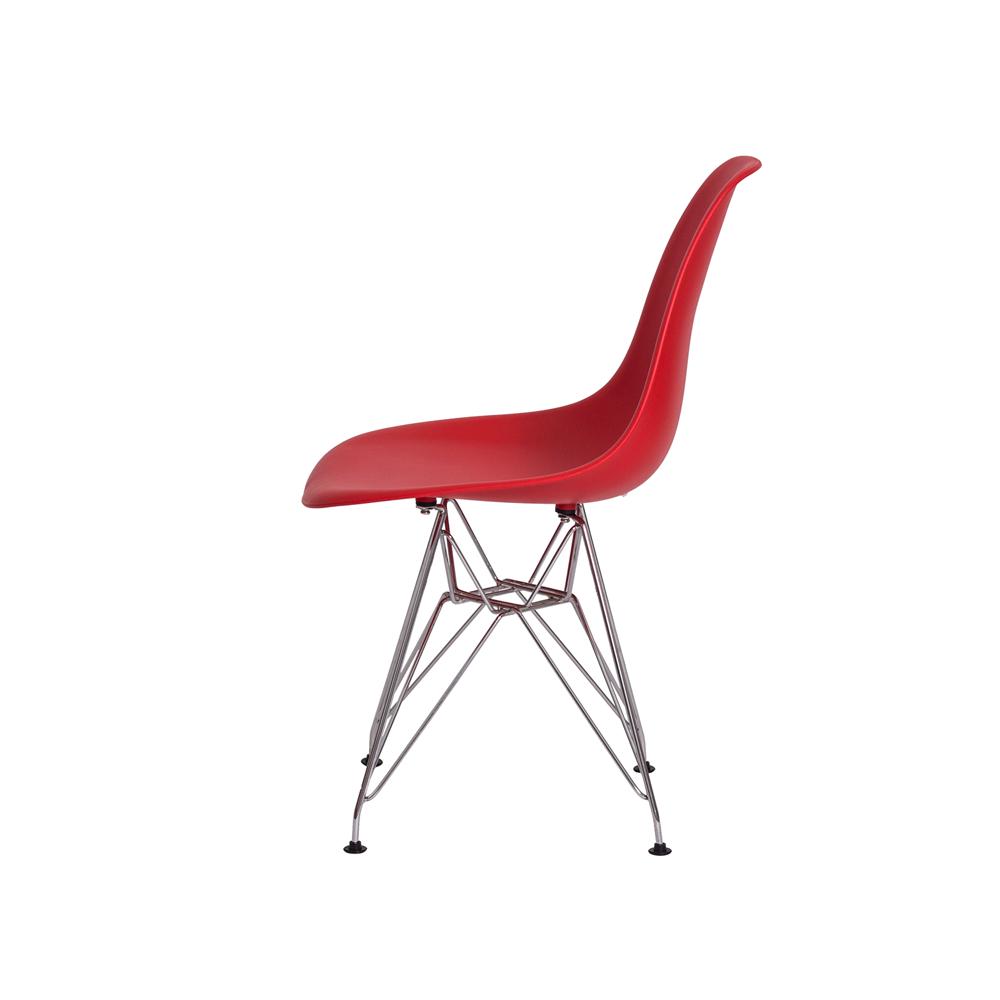Kit 2 Cadeiras De Jantar Charles Eames Eiffel Vermelha Base De Aço Cromada