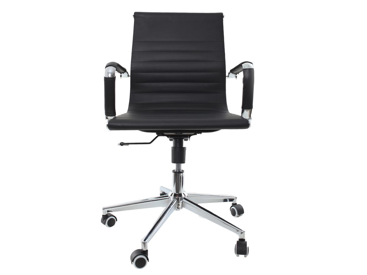 Kit 2 Cadeira De Escritório Giratória Diretor Charles Eames Eiffel Esteirinha Preto