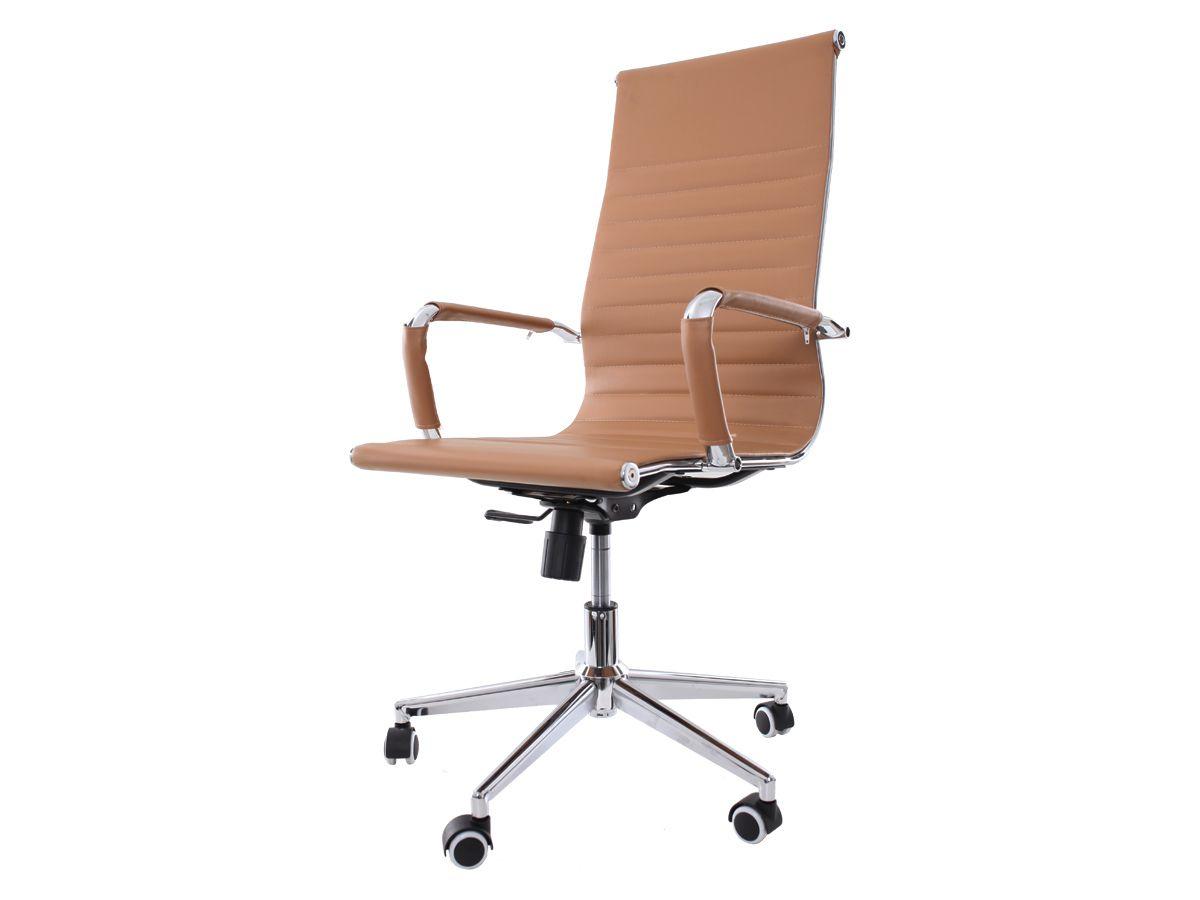 Kit 2 Cadeira De Escritório Giratória Presidente Charles Eames Eiffel Esteirinha Caramelo