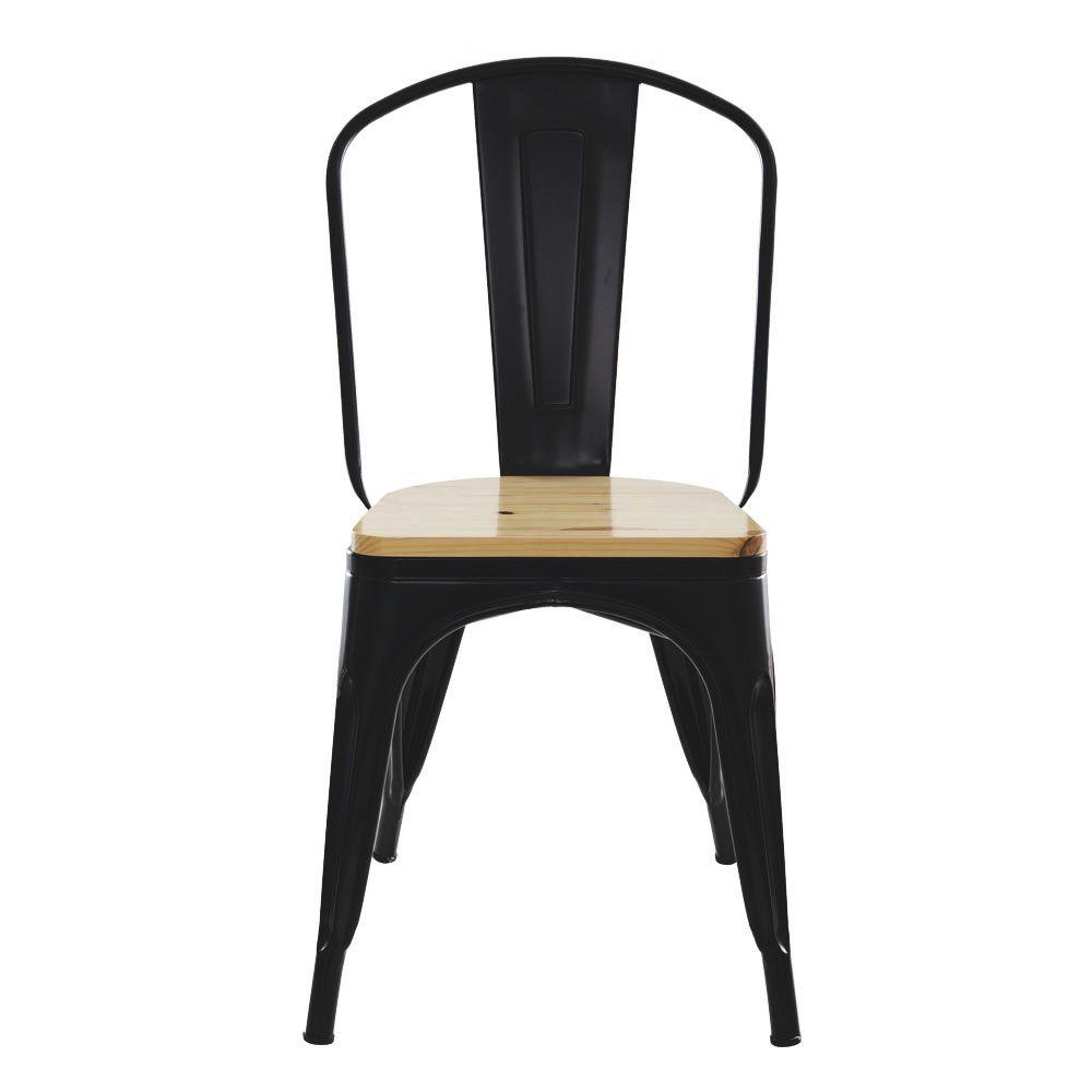 Kit 2 Cadeira Para Mesa Sala De Jantar Tolix Industrial Preta Com Assento De Madeira