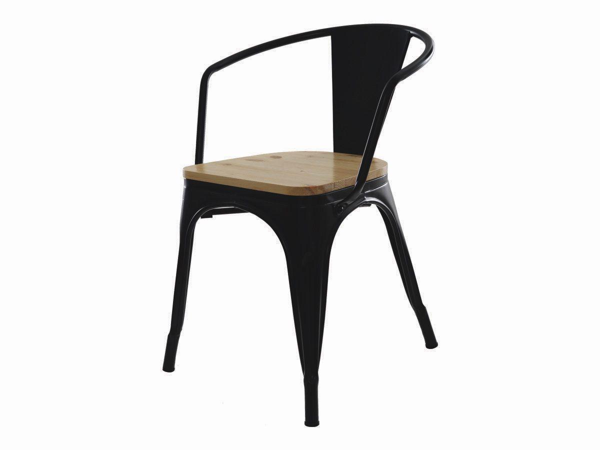 Kit 2 Cadeira Para Mesa Sala De Jantar Tolix Iron Industrial Preta Com Braço E Assento De Madeira