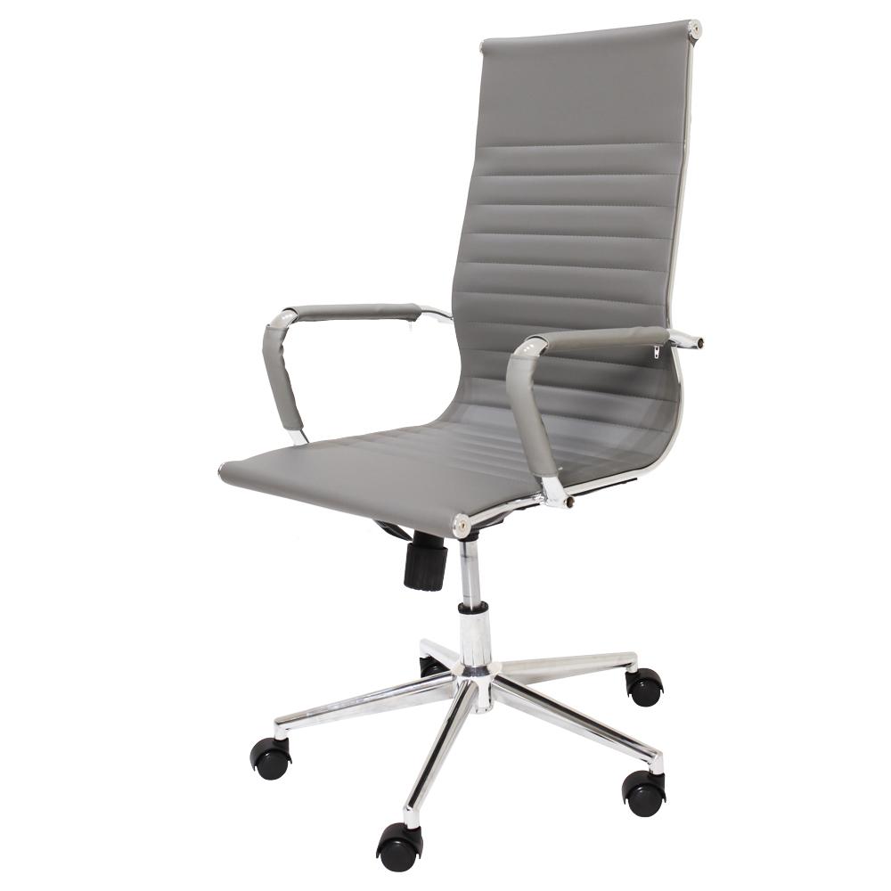 Kit 2 Cadeiras De Escritório Presidente Stripes Esteirinha Charles Eames Eiffel Cinza