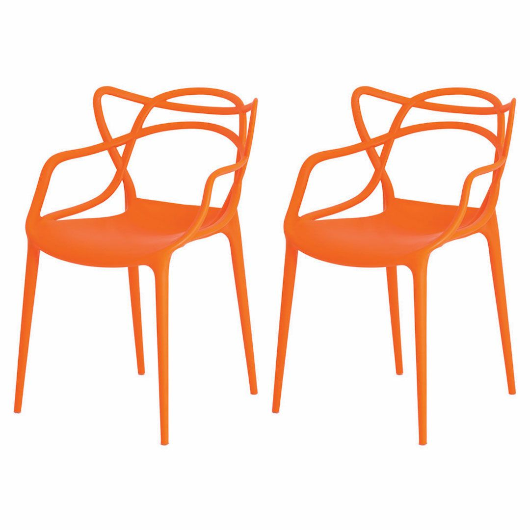 Kit 2 Cadeiras De Jantar Allegra Master Laranja Com Inmetro