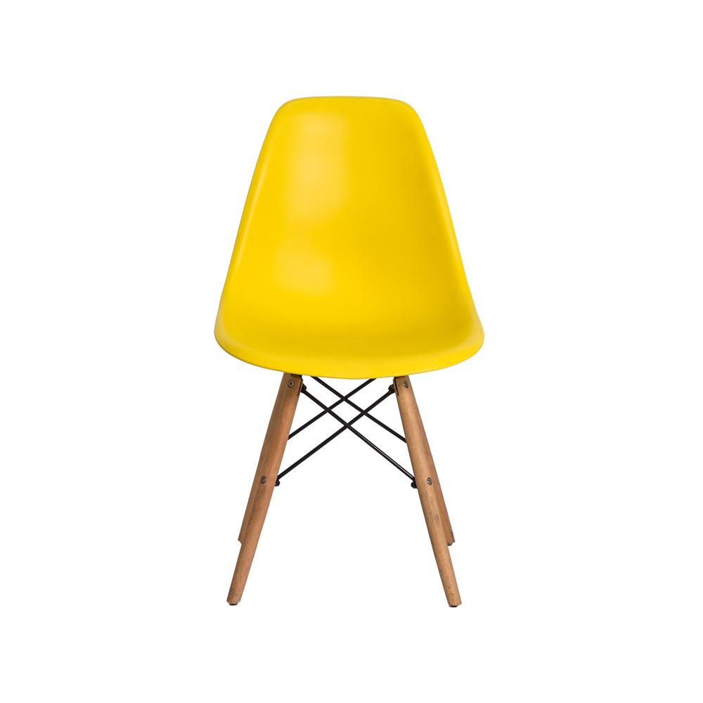 Kit 2 Cadeiras De Jantar Charles Eames Eiffel Amarela Com Base De Madeira