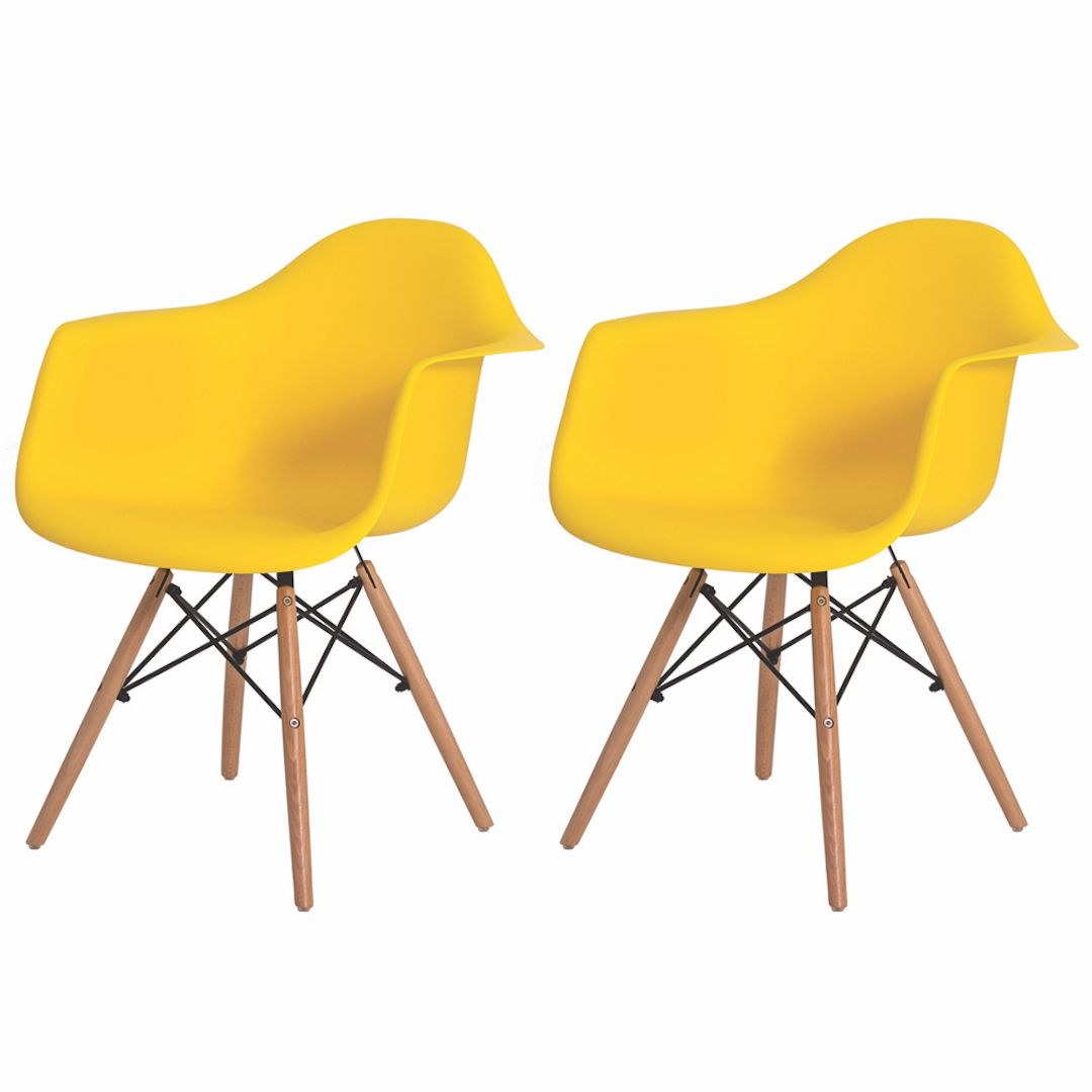 Kit 2 Cadeiras De Jantar Charles Eames Eiffel Com Braço Amarela Base De Madeira