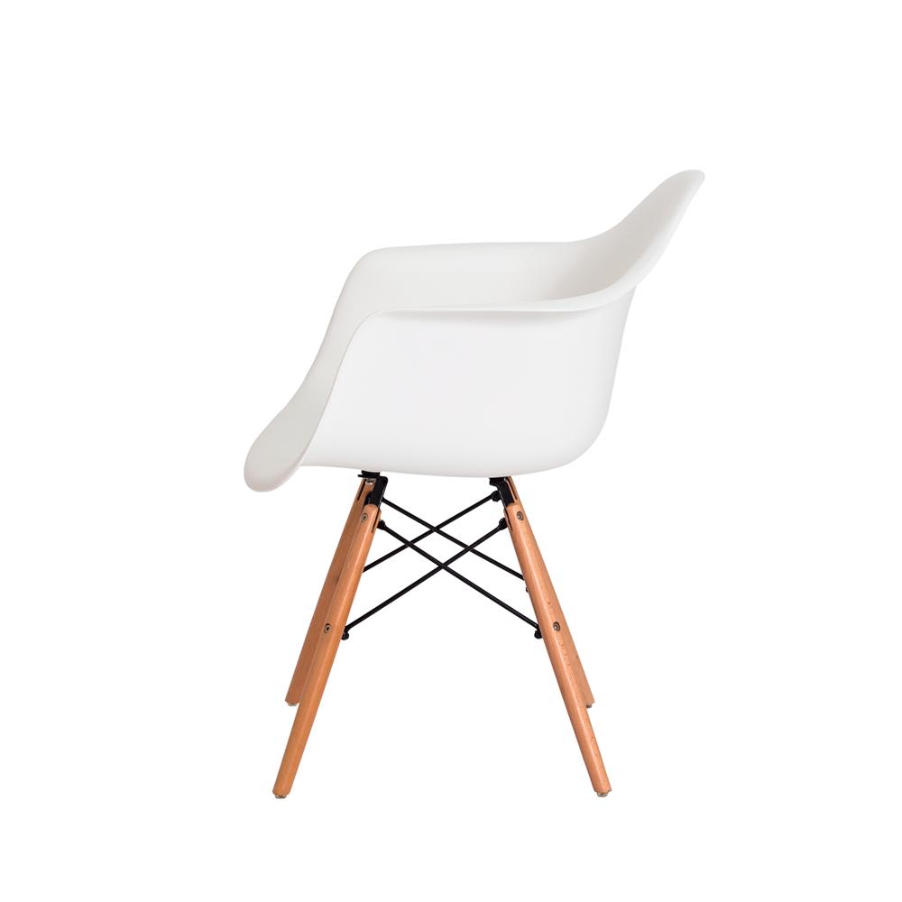 Kit 2 Cadeiras De Jantar Charles Eames Eiffel Com Braço Branco Base De Madeira