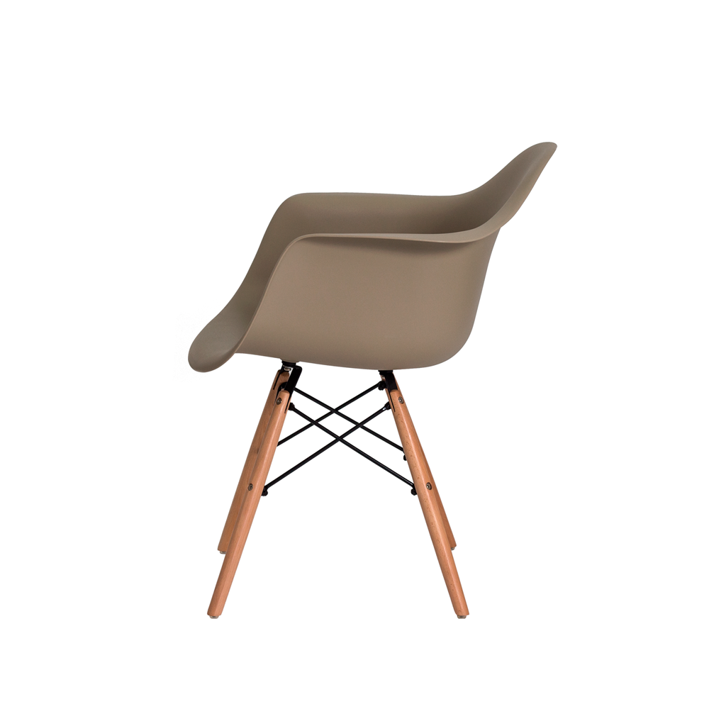 Kit 2 Cadeiras De Jantar Charles Eames Eiffel Com Braço Nude Base De Madeira