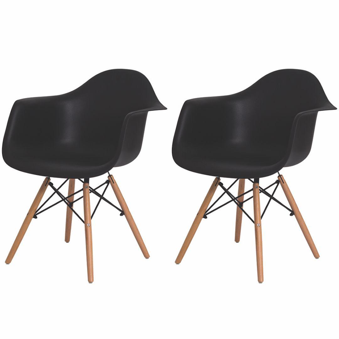 Kit 2 Cadeiras De Jantar Charles Eames Eiffel Com Braço Preto Base De Madeira