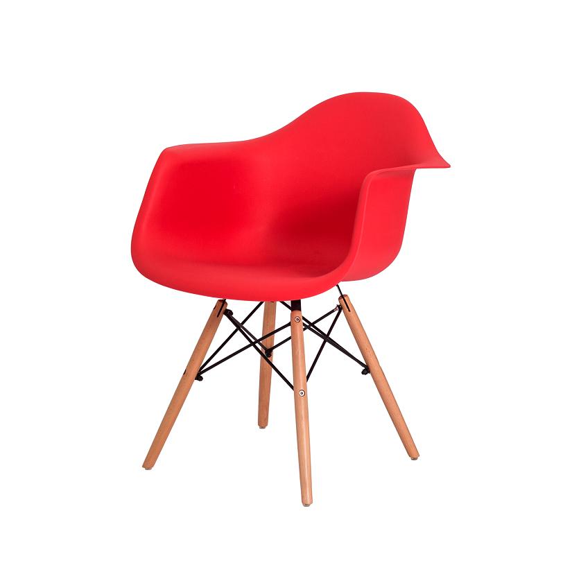 Kit 2 Cadeiras De Jantar Charles Eames Eiffel Com Braço Vermelho Base De Madeira