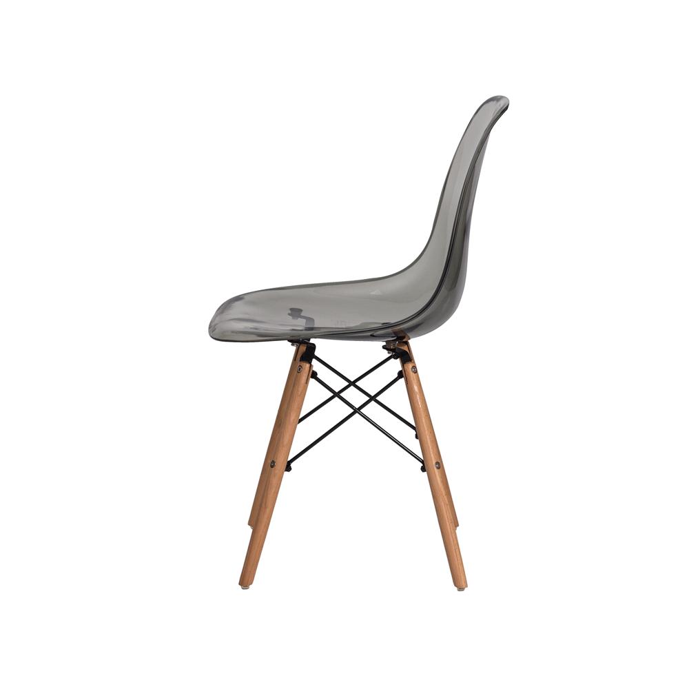 Kit 2 Cadeiras De Jantar Charles Eames Eiffel Fumê Com Base De Madeira