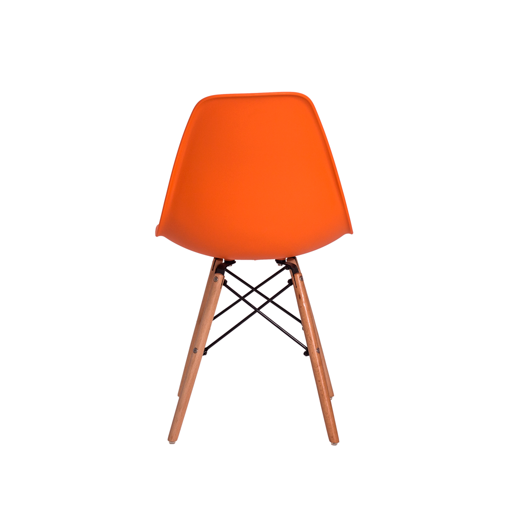 Kit 2 Cadeiras De Jantar Charles Eames Eiffel Laranja Base De Madeira