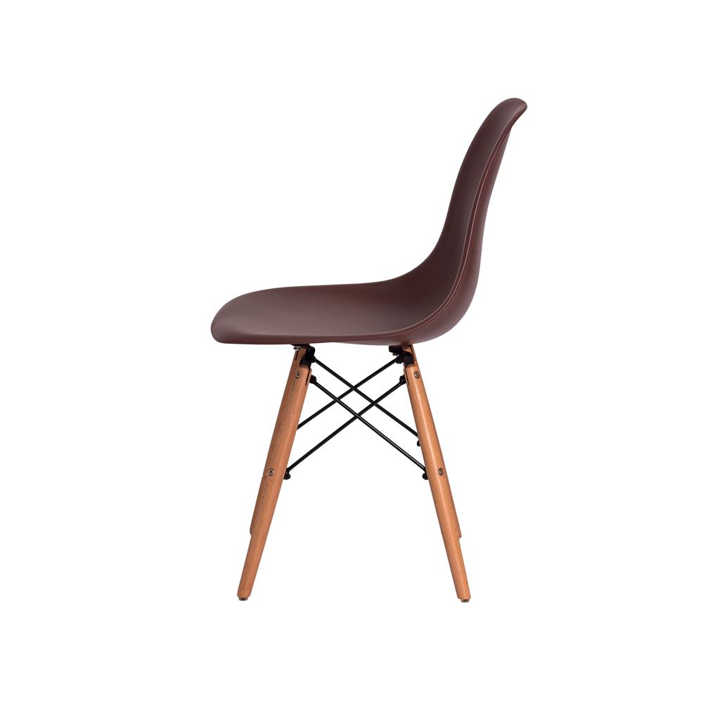 Kit 2 Cadeiras De Jantar Charles Eames Eiffel Marrom Base De Madeira