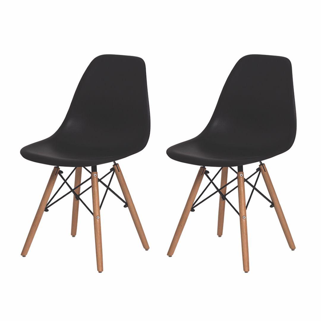 Kit 2 Cadeiras De Jantar Charles Eames Eiffel Preta Base De Madeira