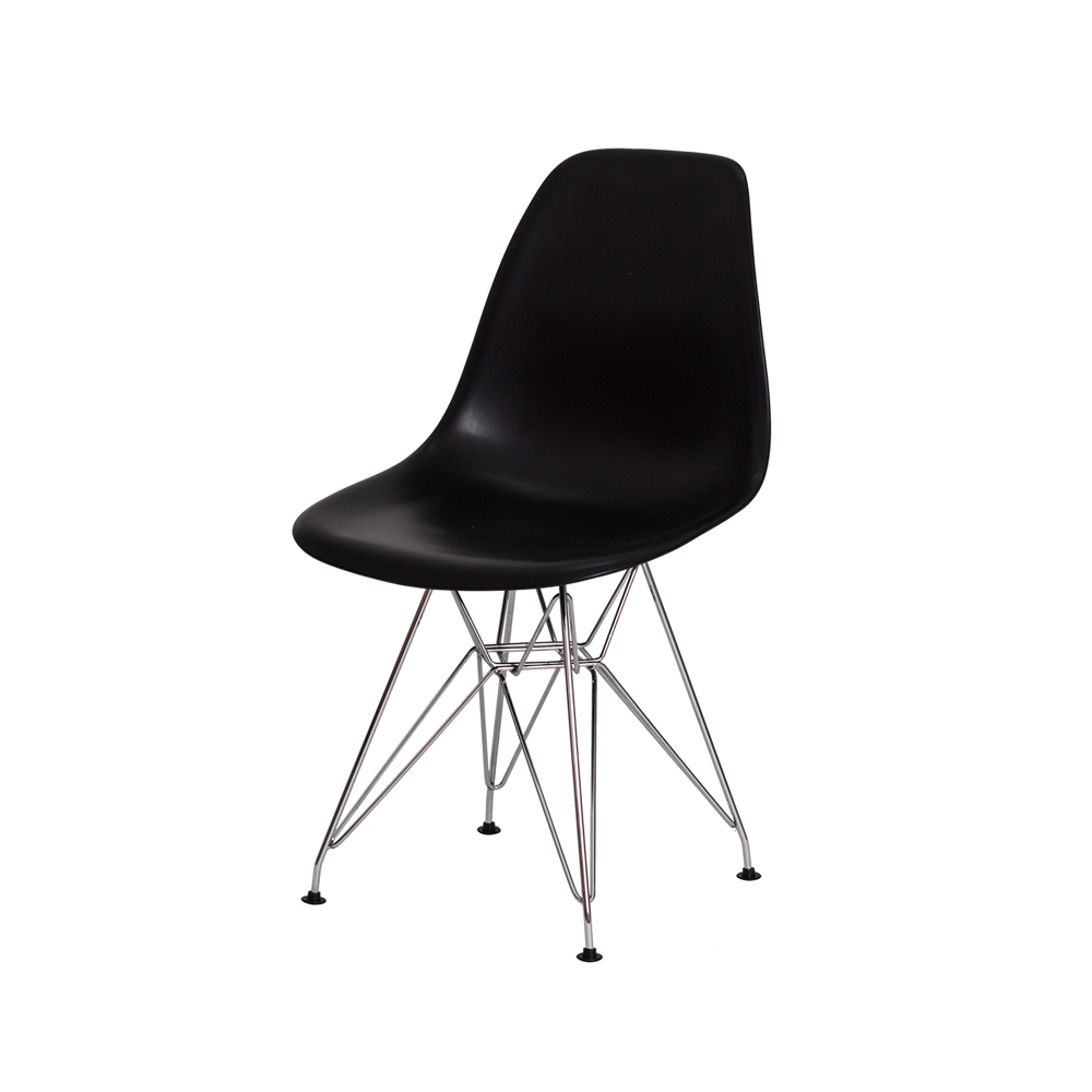 Kit 2 Cadeiras De Jantar Charles Eames Eiffel Preta Base De Aço Cromado