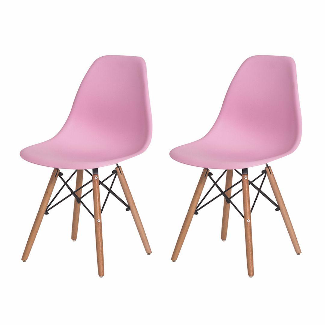Kit 2 Cadeiras De Jantar Charles Eames Eiffel Rosa Claro Base De Madeira