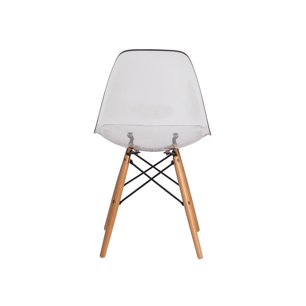 Kit 2 Cadeiras De Jantar Charles Eames Eiffel Transparente Com Base De Madeira