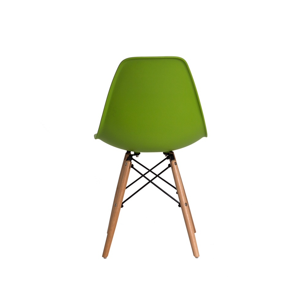 Kit 2 Cadeiras De Jantar Charles Eames Eiffel Verde Dsw Com Base De Madeira