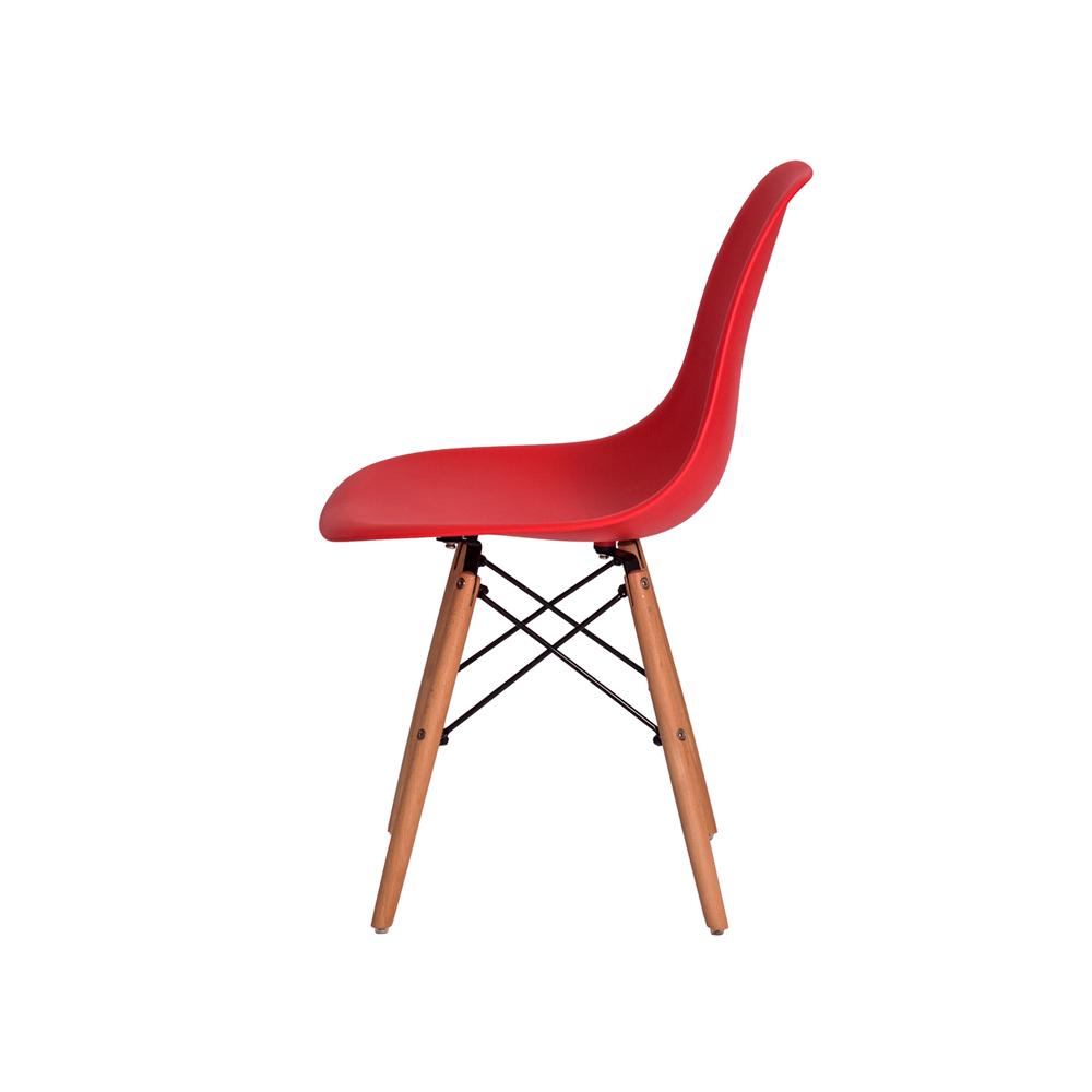 Kit 2 Cadeiras De Jantar Charles Eames Eiffel Vermelha Base De Madeira