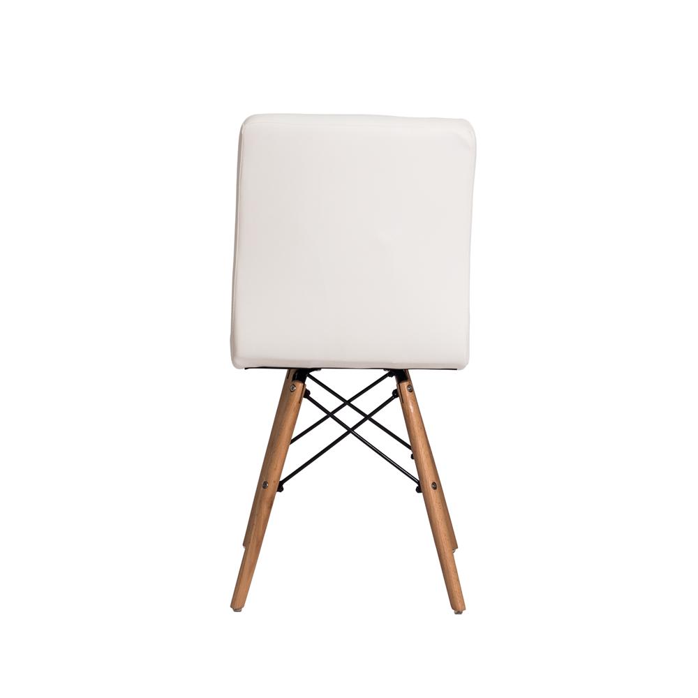 Kit 2 Cadeiras De Jantar Charles Eames Gomos Branca Com Base De Madeira
