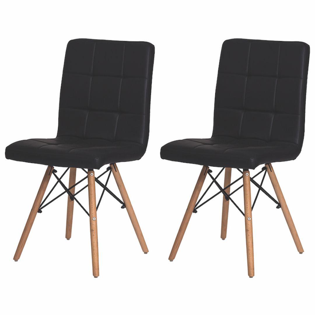 Kit 2 Cadeiras De Jantar Charles Eames Gomos Marrom Café Com Base De Madeira