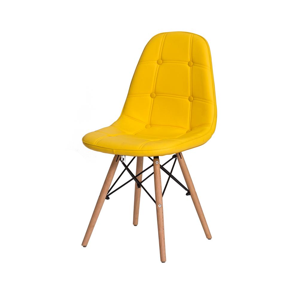 Kit 2 Cadeiras De Jantar Estofada Charles Eames Botonê Amarela Com Base De Madeira