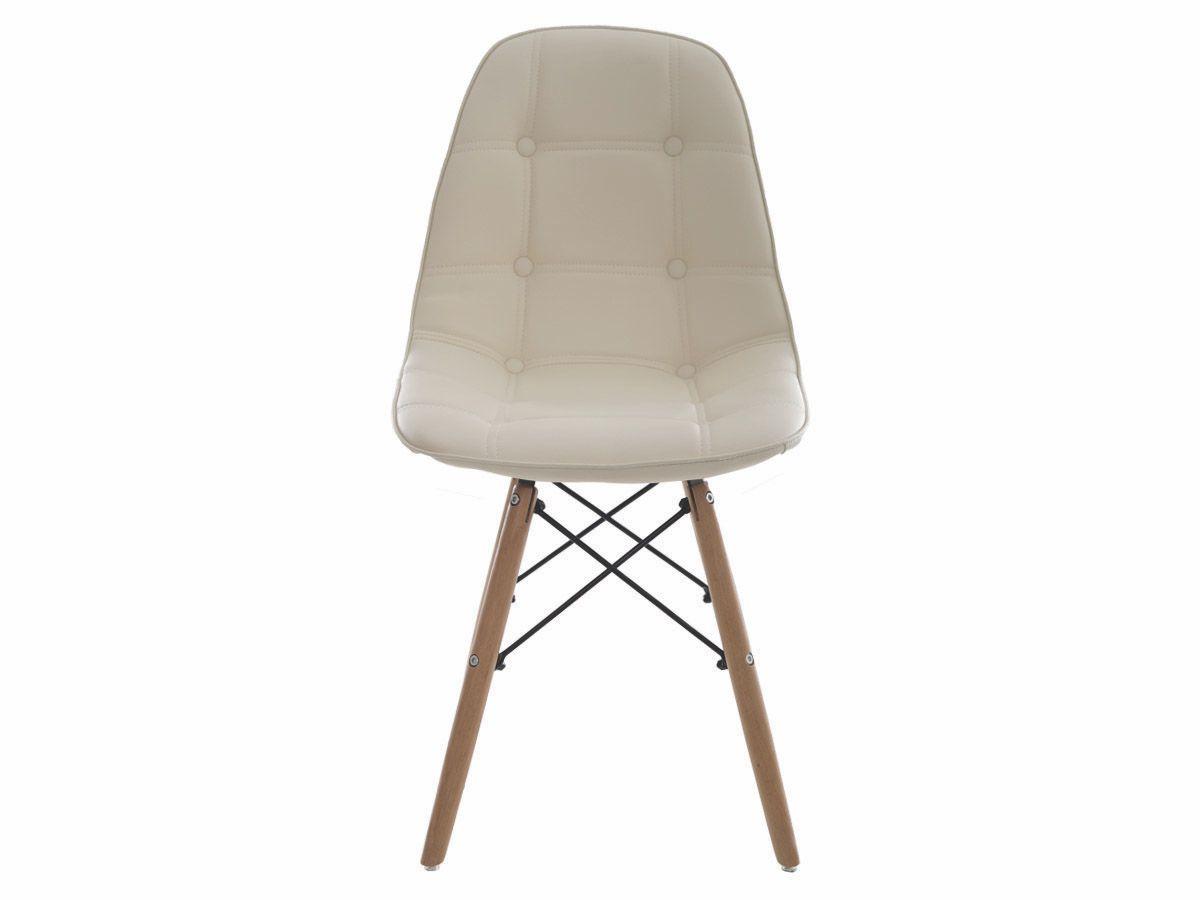 Kit 2 Cadeiras De Jantar Estofada Charles Eames Botonê Creme Com Base De Madeira