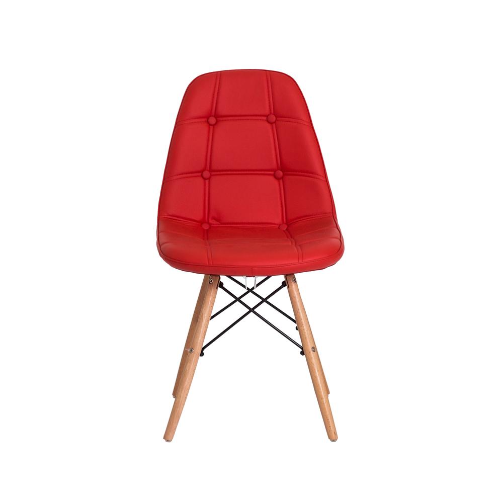 Kit 2 Cadeiras De Jantar Estofada Charles Eames Botonê Vermelha Com Base De Madeira
