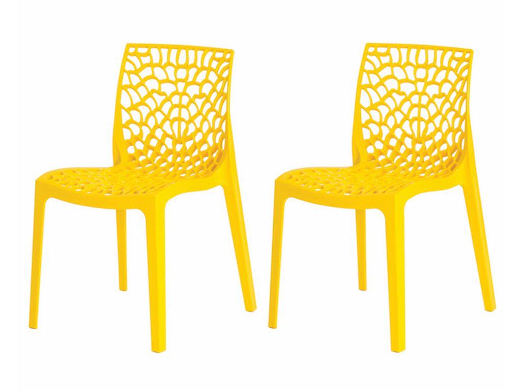Kit 2 Cadeiras De Jantar Gruvyer Design Amarelo Com Inmetro