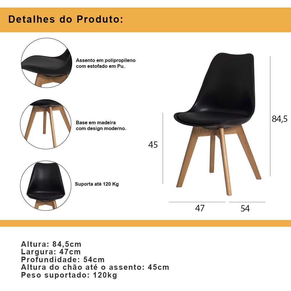 Kit 2 Cadeiras De Jantar Saarinen Leda Design Branca