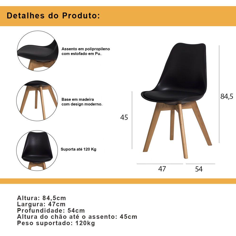 Kit 2 Cadeiras De Jantar Saarinen Leda Design Preta