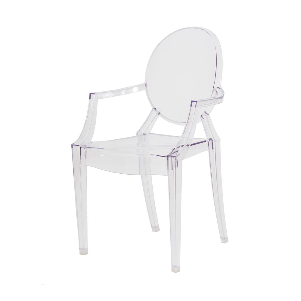 Kit 2 Cadeiras De Jantar Sofia Louis Ghost Com Braço Transparente