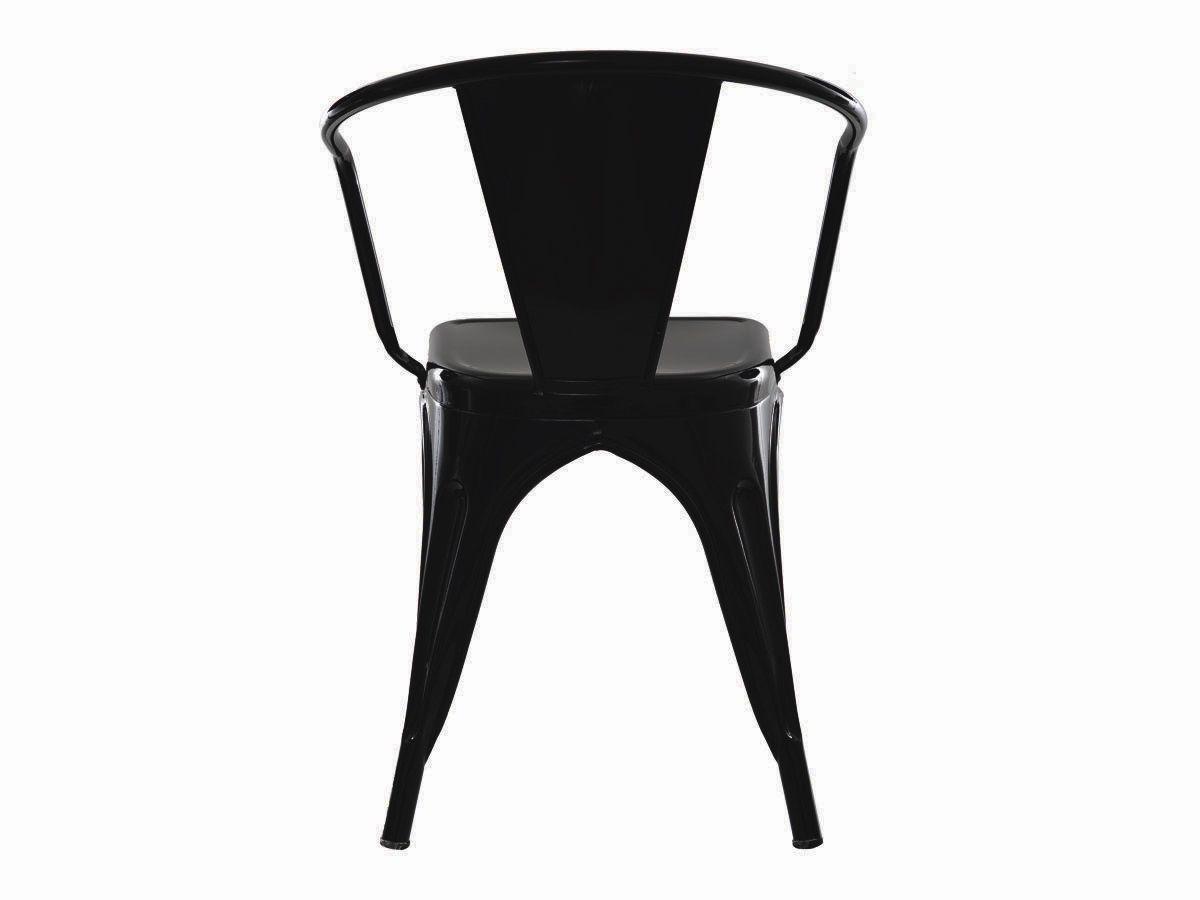 Kit 2 Cadeiras Para Mesa Sala De Jantar Tolix Iron Industrial Com Braço Preta