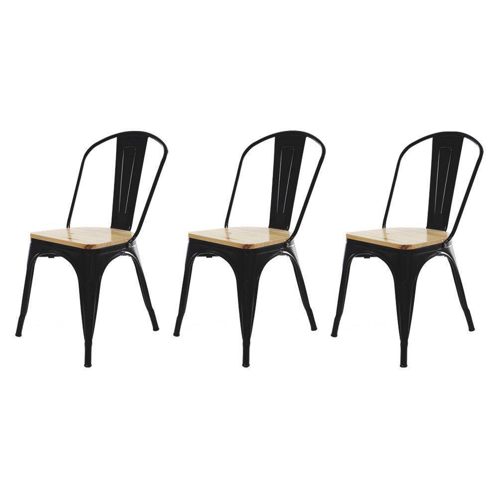 Kit 3 Cadeira Para Mesa Sala De Jantar Tolix Industrial Preta Com Assento De Madeira