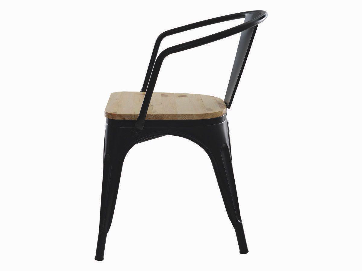 Kit 3 Cadeira Para Mesa Sala De Jantar Tolix Iron Industrial Preta Com Braço E Assento De Madeira