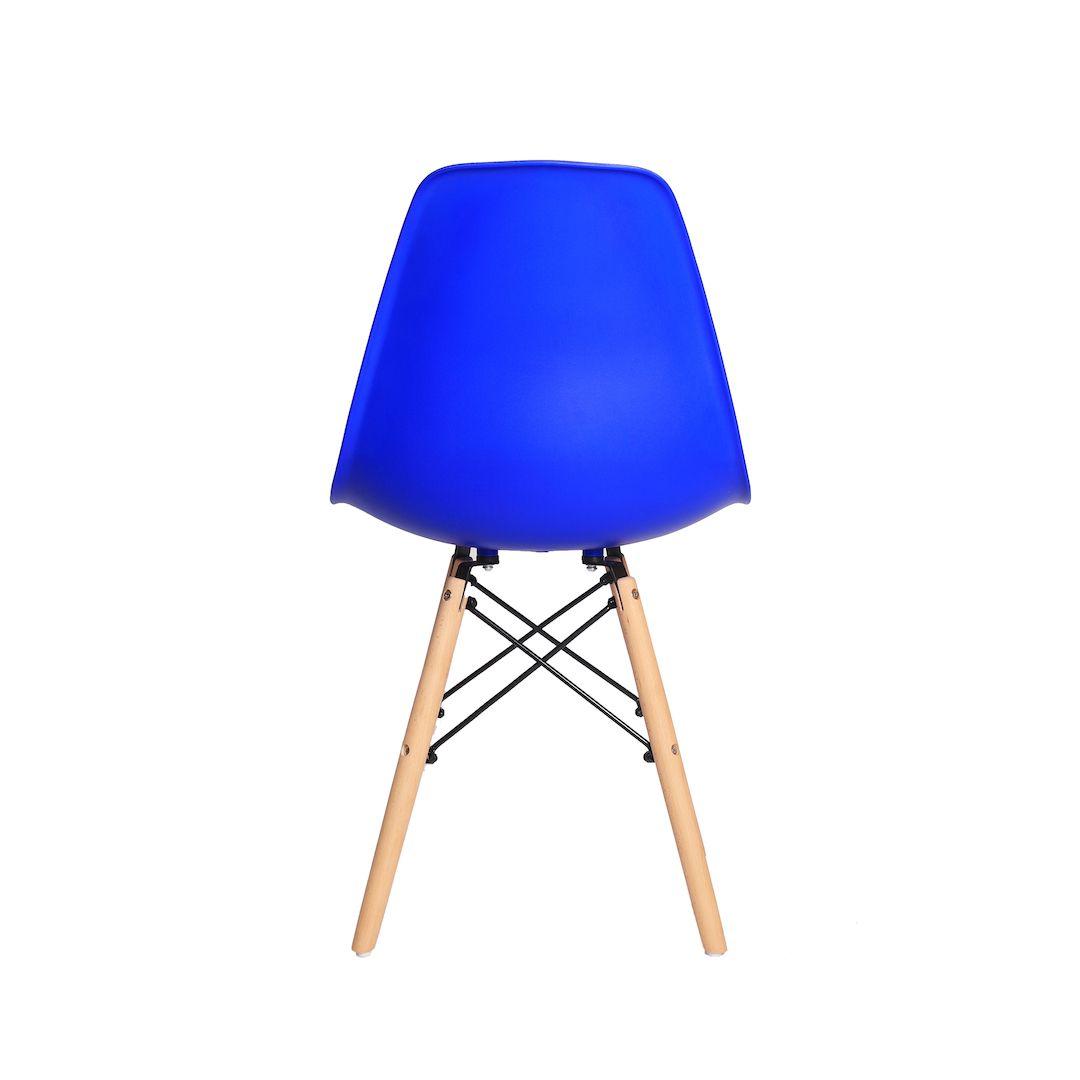 Kit 3 Cadeiras De Jantar Charles Eames Eiffel Azul Bic Base De Madeira