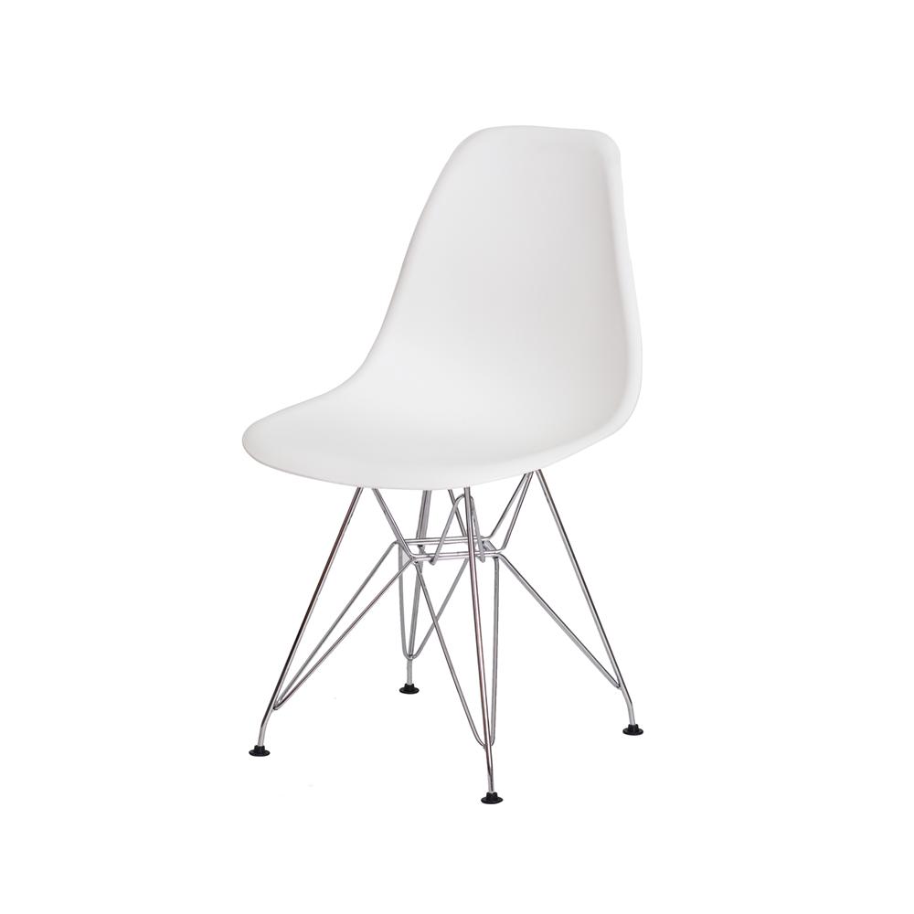 Kit 3 Cadeiras De Jantar Charles Eames Eiffel Branca Base De Aço Cromado
