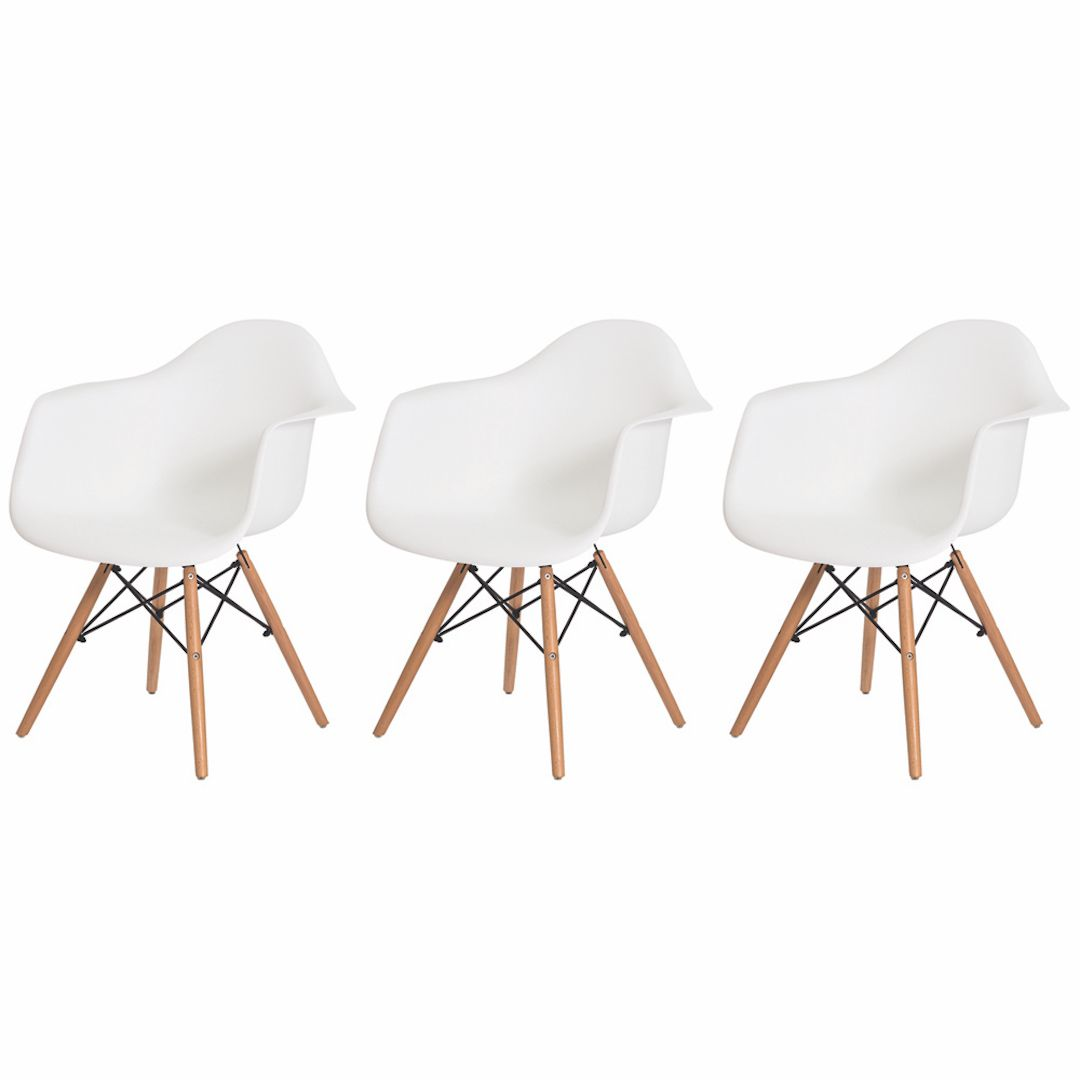 Kit 3 Cadeiras De Jantar Charles Eames Eiffel Com Braço Branca Base De Madeira