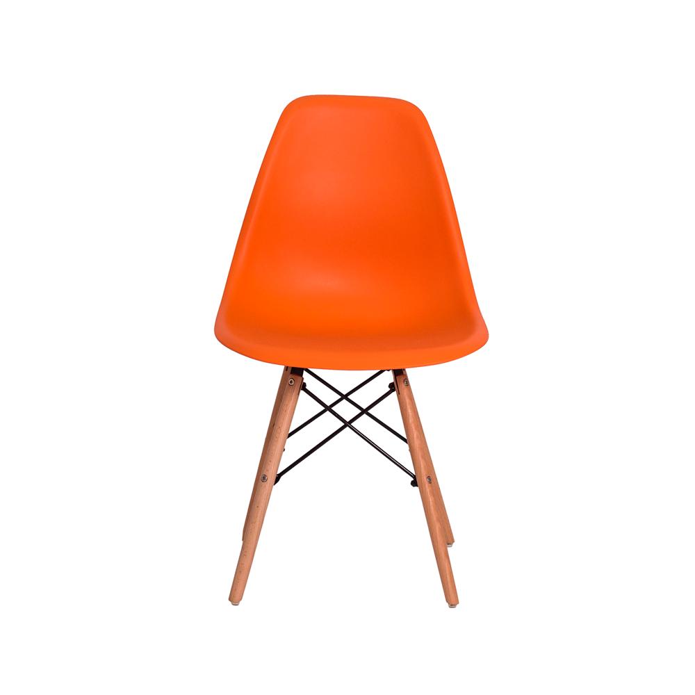 Kit 3 Cadeiras De Jantar Charles Eames Eiffel Laranja Base De Madeira
