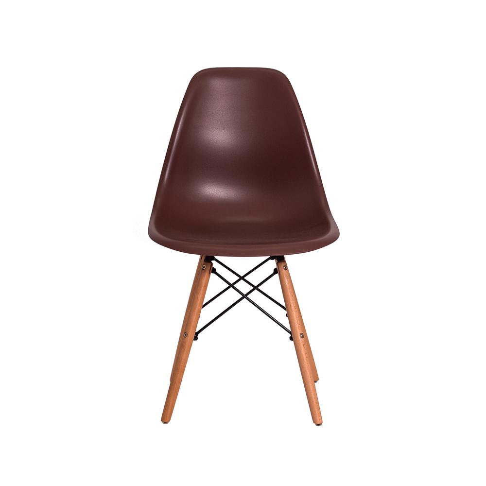 Kit 3 Cadeiras De Jantar Charles Eames Eiffel Marrom Base De Madeira
