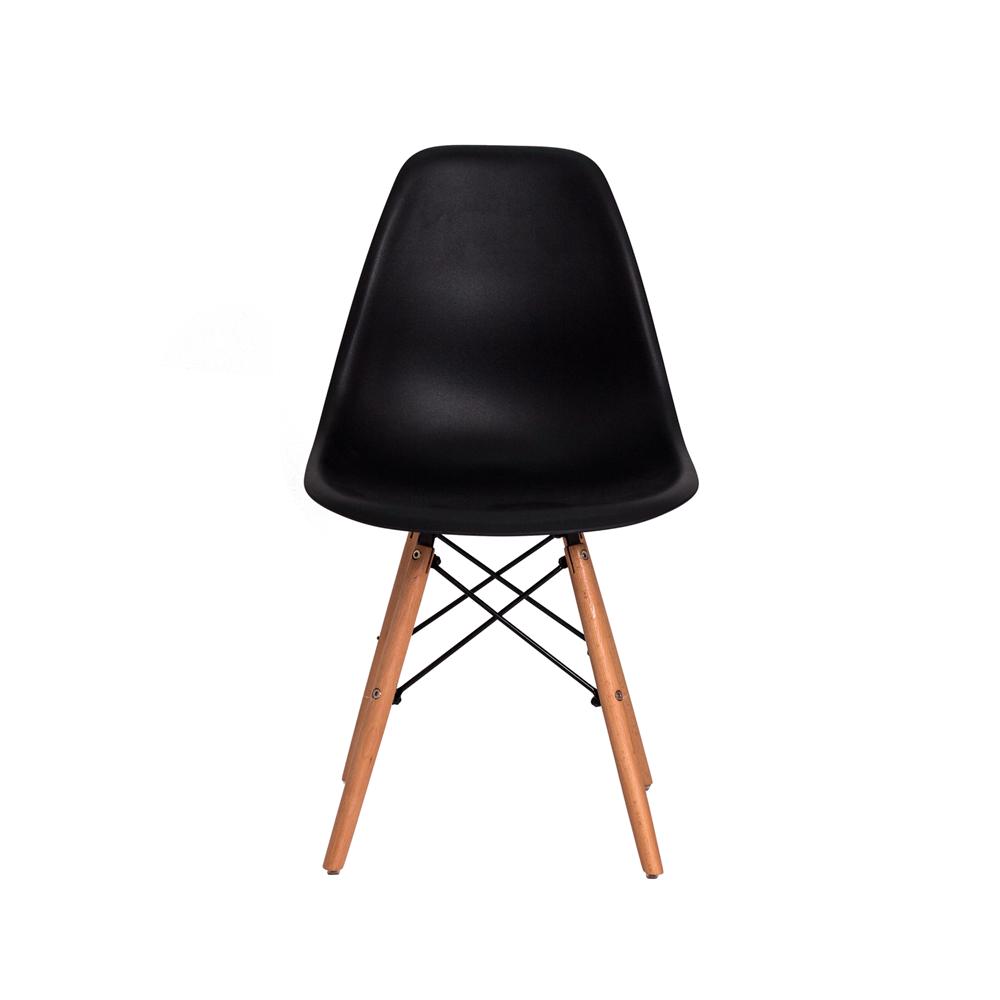 Kit 3 Cadeiras De Jantar Charles Eames Eiffel Preta Base De Madeira